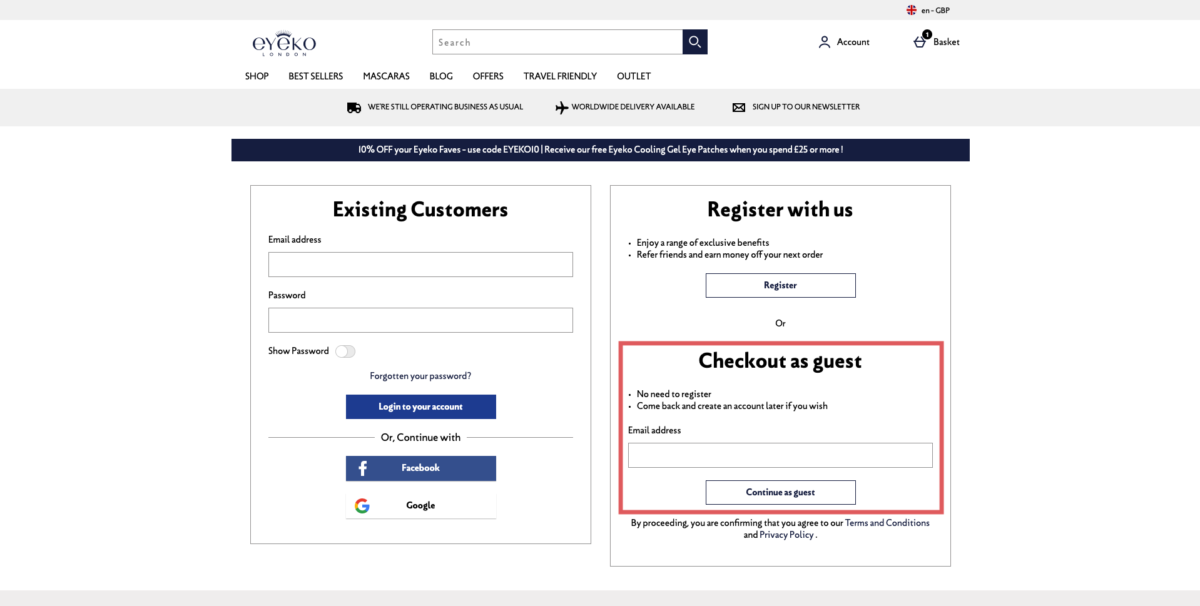 conversion checkout visitor ordering