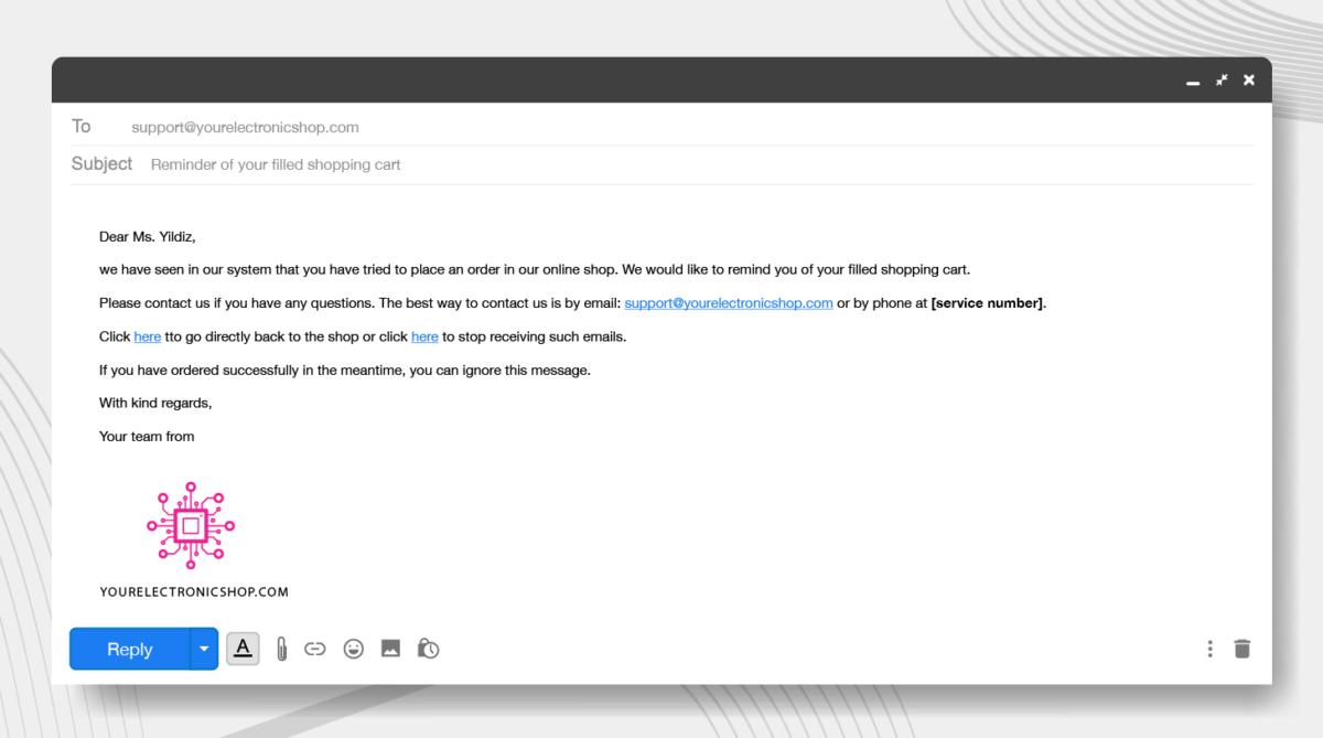 conversion optimisation checkout email