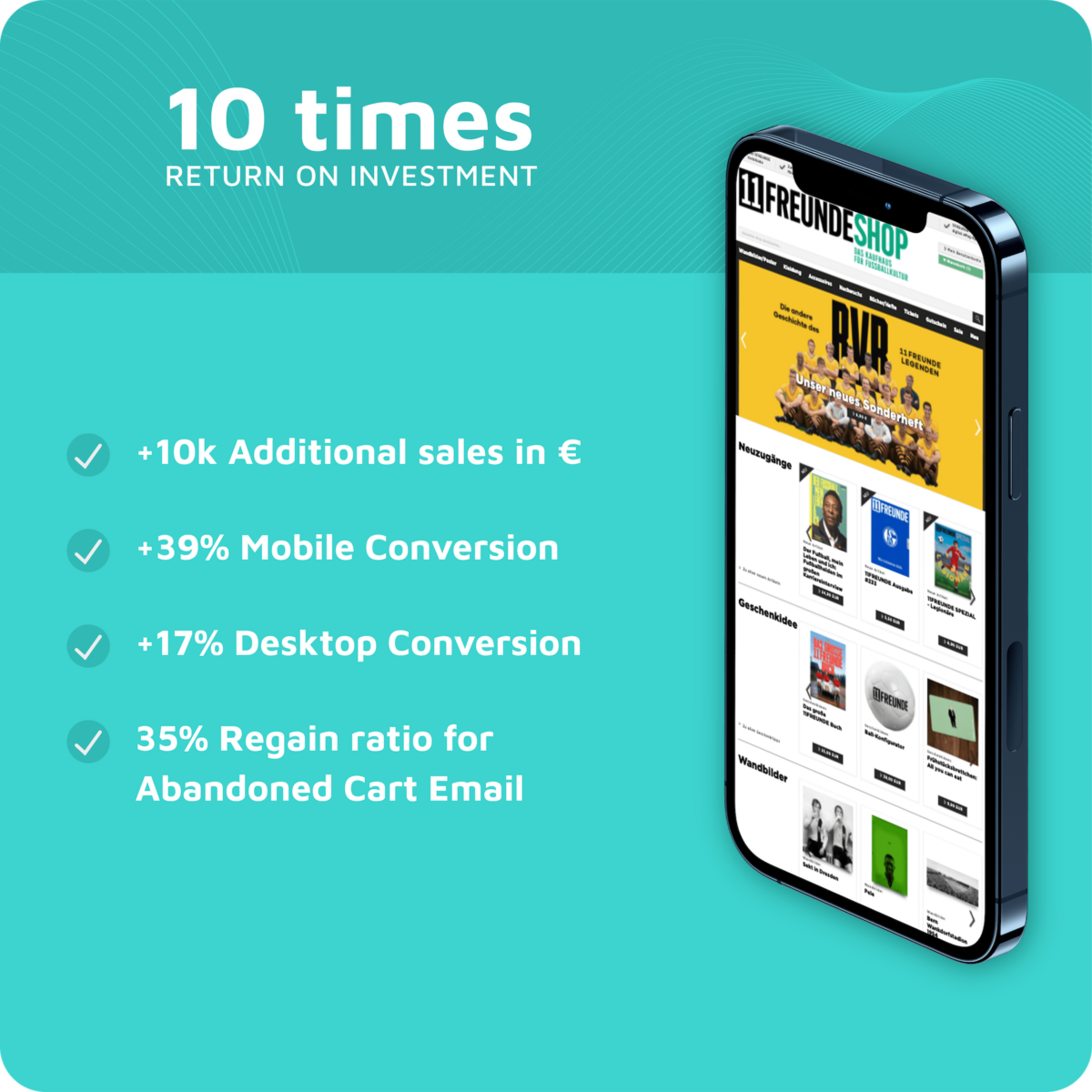 11FREUNDE Onlineshop reduces Shopping Cart Abandonment