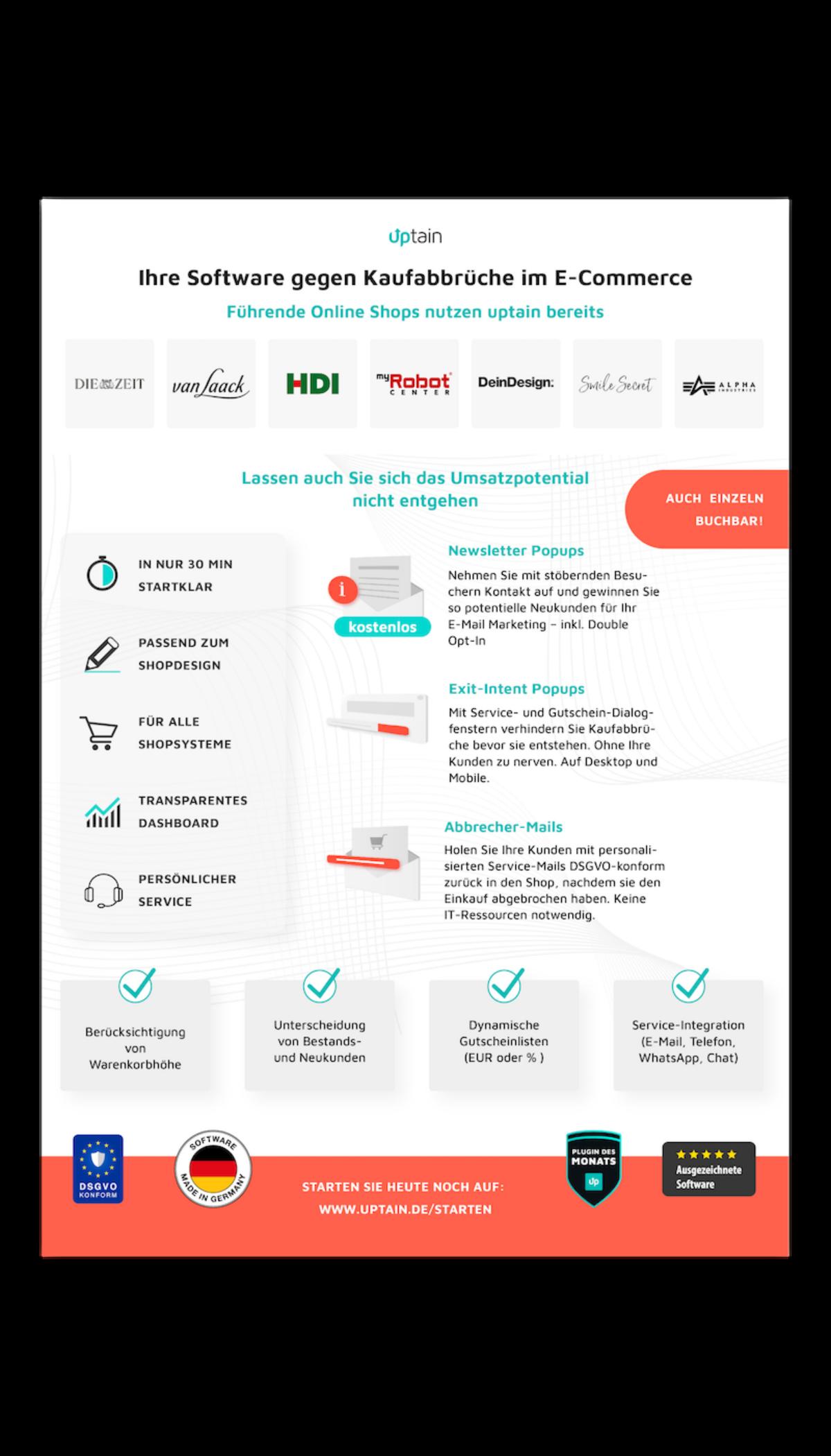 uptain Software gegen Kaufabbrüche in Online Shops